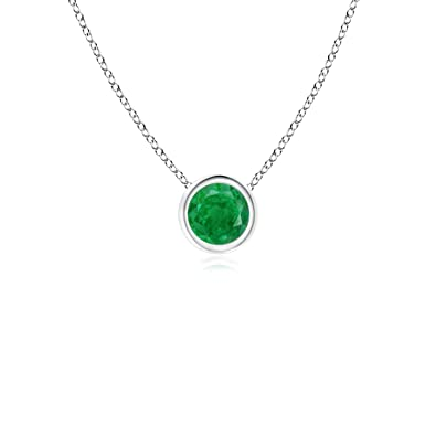 Angara Bezel-Set Emerald Necklace for Women in Yellow Gold PqeTbkTa