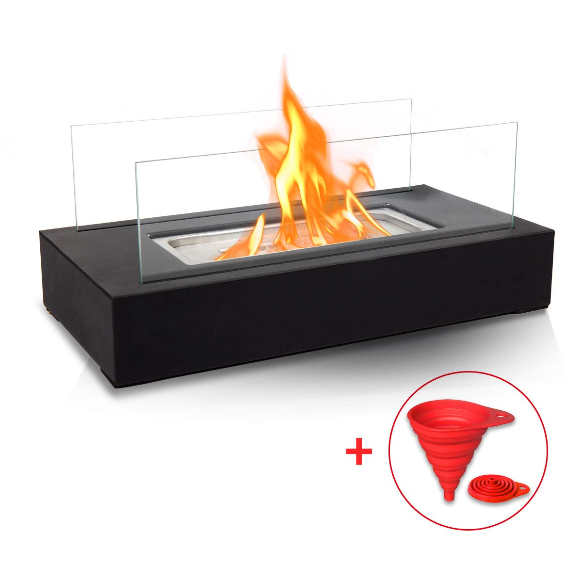 BRIAN & DANY Ventless Tabletop Portable Fire Bowl Pot Bio Ethanol Fireplace Indoor Outdoor Fire Pit in Black w/Fire Killer and Funnel by BRIAN & DANY