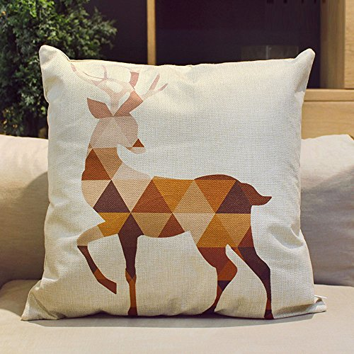 HIPPIH 4 Packs Square Pillow Cover - 16 X 16 Inch Decorative Throw Pillowcase, Geometric Animals by HIPPIH (Image #3)