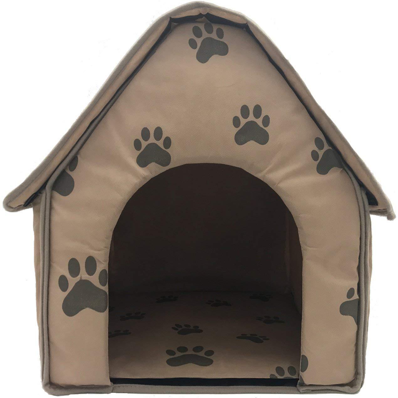 Dooret La Pata Linda casa de Perro pequeño Nido de impresión portátil Desmontable Plegable del Gato del Perro Dormir Nest House Lavable Suave para Mascotas