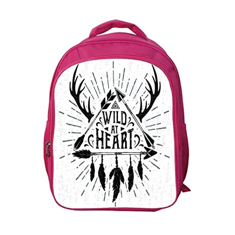 b7e94b6a8bb7 iPrint School Bags Kid's Backpacks Custom,Antler Decor,Wild at Heart Text  Triangle with