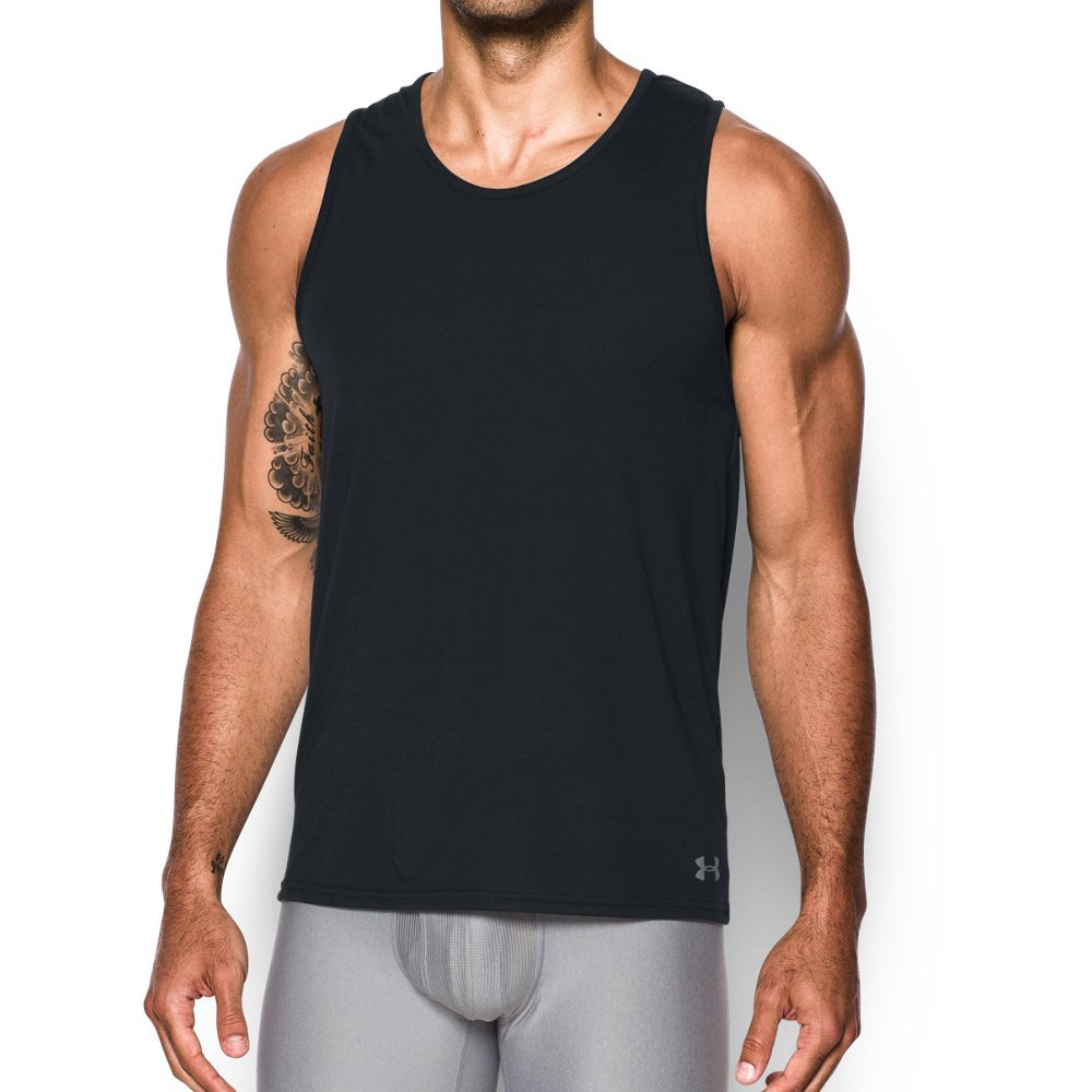 Under Armour Men's Core Tank, Black/Steel, Small