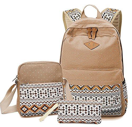 YAGGLE Damen Schüler Rucksack 3-teiliges Set schöne Schulranzen Umhängetasche und Geldbörse