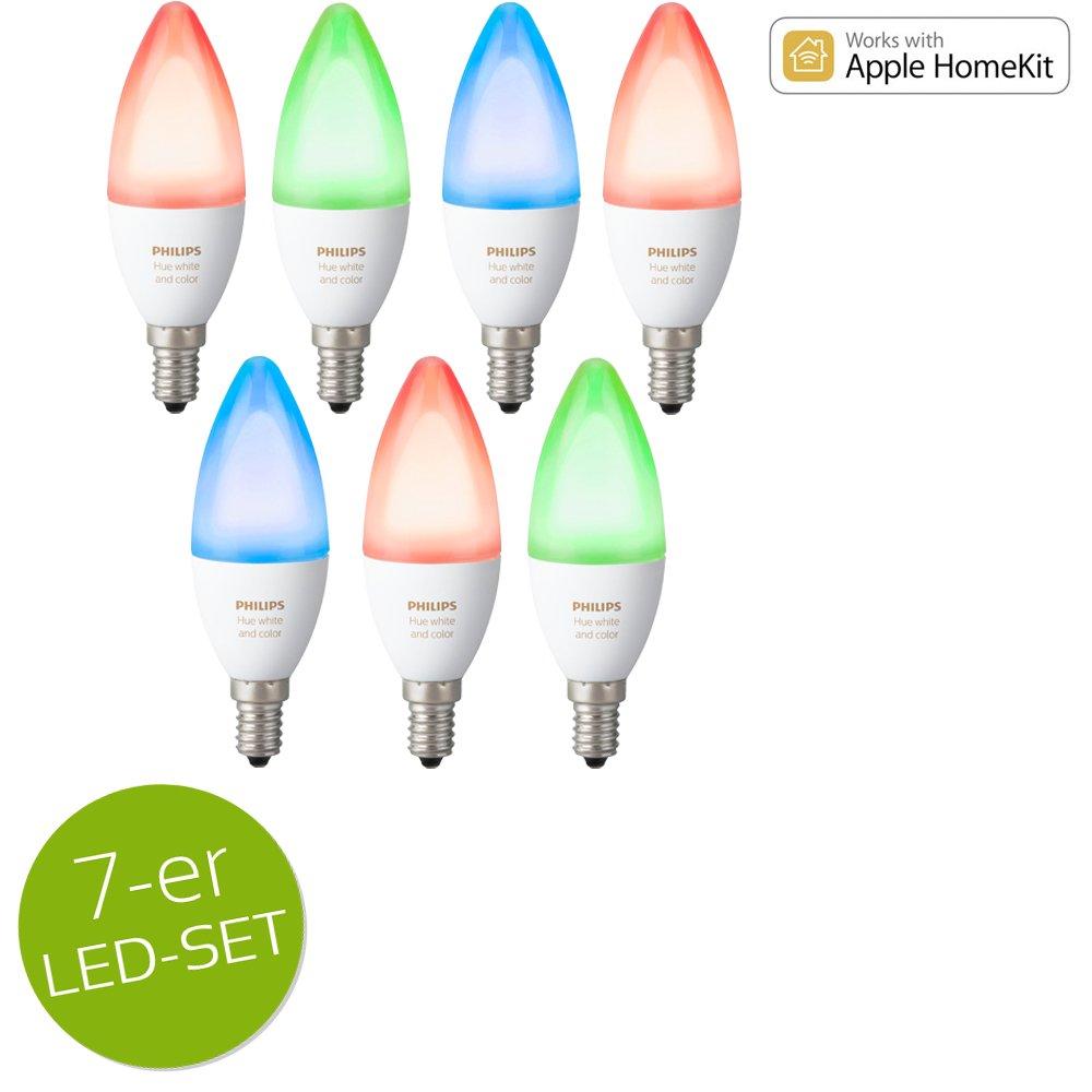 Philips Hue Weiß Ambiance and Farbe RGBW LED E14 6,5W ZigBee Echo Alexa kompatibel - 7er Set