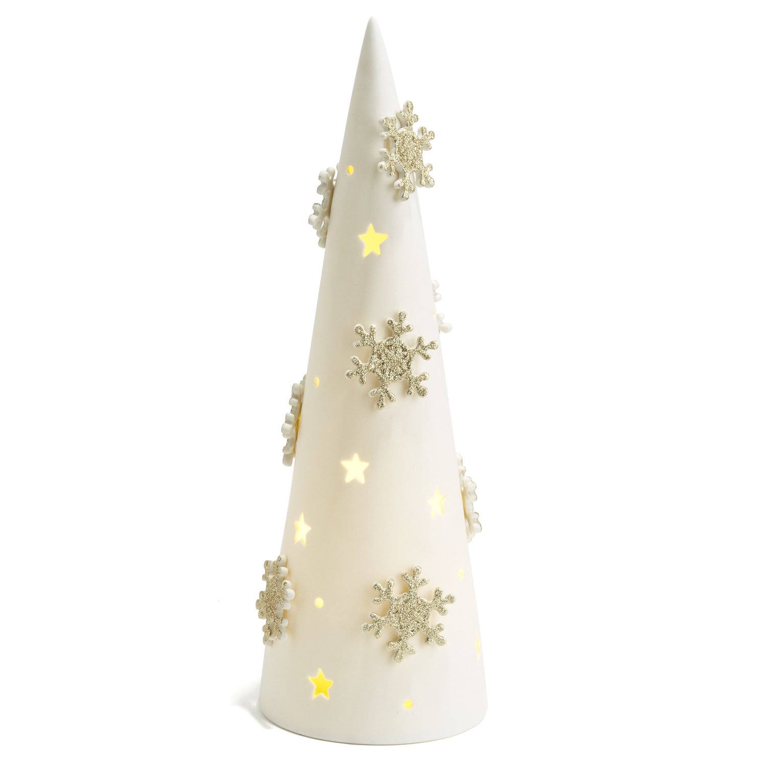 LampLust Lighted Tabletop Porcelain Tree, Warm White LED Light, White Base, Gold Snowflakes, Timer Option, Battery Operated