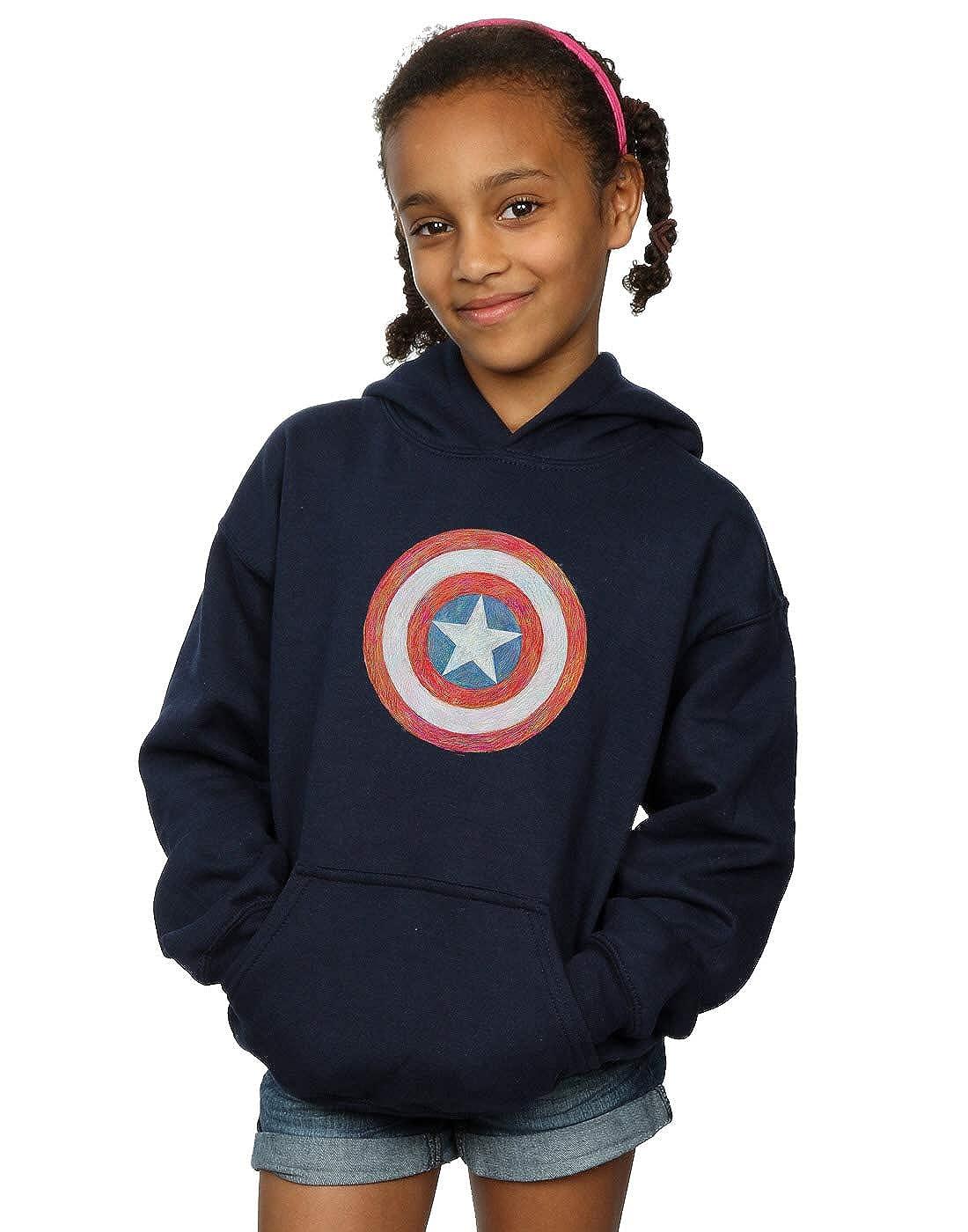 Marvel Girls Captain America Sketched Shield Hoodie