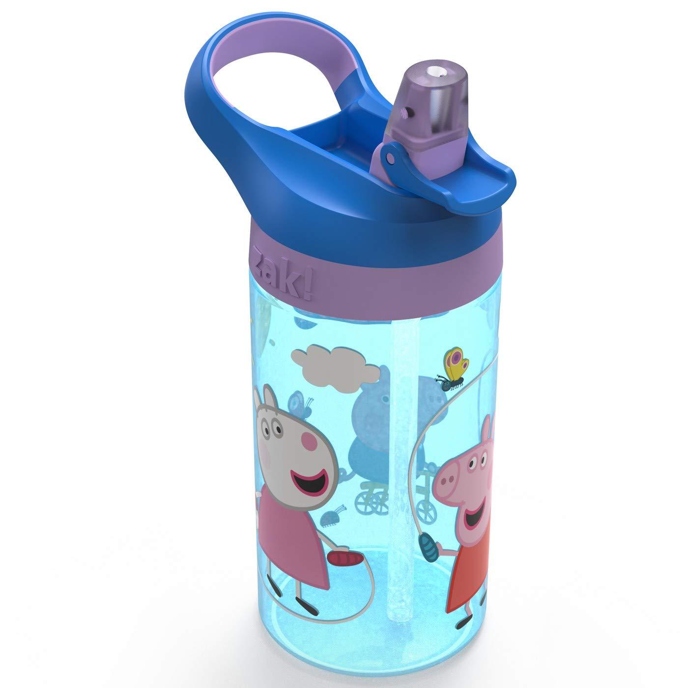 Peppa Pig Zak Designs 16oz Plastic Water Bottle Blue//Purple
