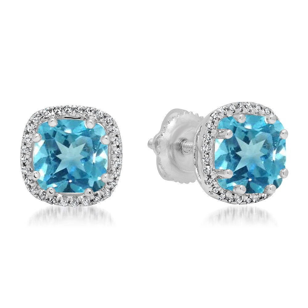 14K White Gold Cushion Cut Blue Topaz & Round Cut White Diamond Ladies Halo Style Stud Earrings
