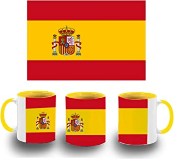 MERCHANDMANIA Taza Amarilla Bandera ESPAÑA Pais Unido Color mug: Amazon.es: Deportes y aire libre