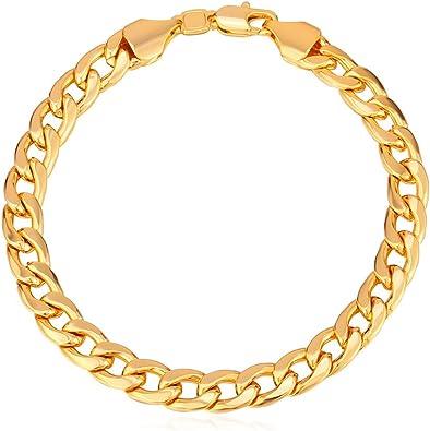 U7 Men Women 18k Gold Plated Classic 7mm Wide Miami Cuban Link Chain Bracelet 8 3 U7 Jewelry Amazon Ca Jewelry