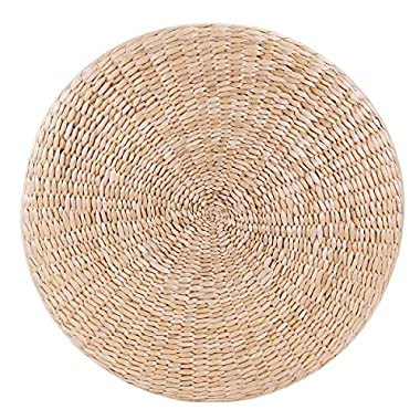 KINGSO Handcrafted Straw Round Pouf Tatami Cushion Floor Cushions Natural Straw Meditation Yoga Mat Chair Seat Cushion (50 x 6cm)