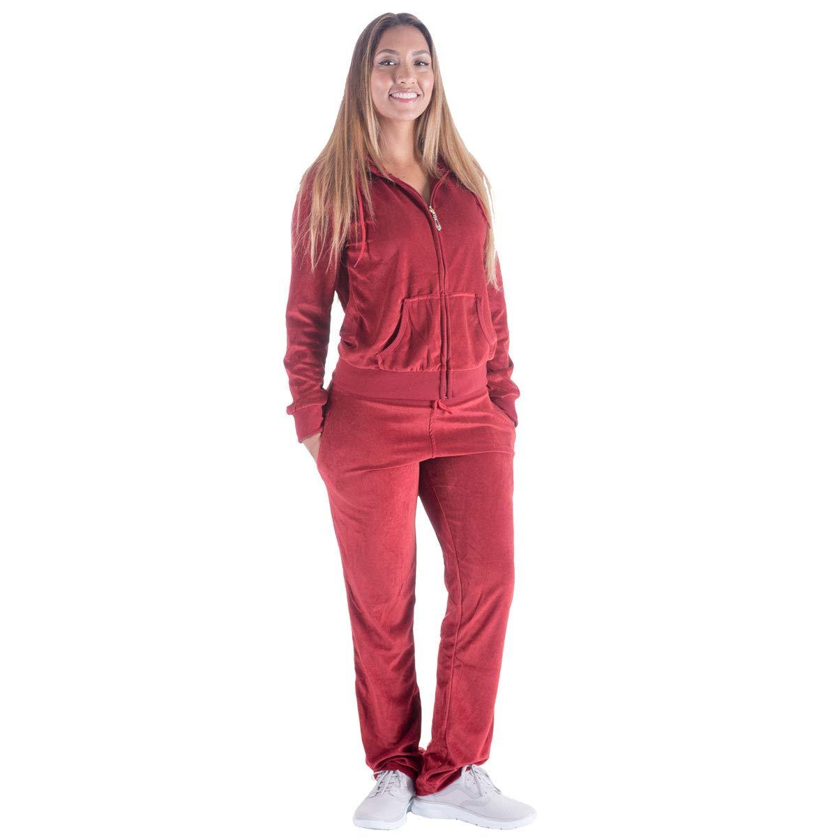 Black Grey Womens Velvet Zip Hooded Sweatshirt Athletic Soft Plus Size Hooded and Sweat Pants Tracksuit Set (L, Wine)