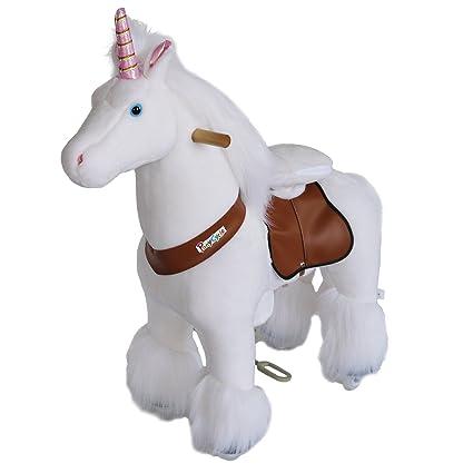 PonyCycle Official Riding Unicorn White Horse Giddy up Pony Plush Toy Walking Animal for Age 4-9 Years Medium Size - N4042