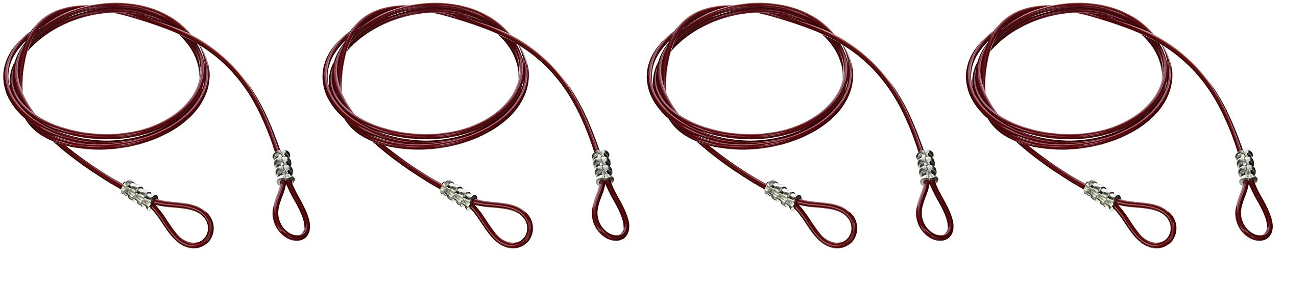 Brady 131066 Double Looped Lockout Cable, Plastic Coated Steel, 8' Cable, Red (Fоur Paсk)