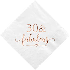 Crisky 30 and Fabulous Cocktail Napkins Rose Gold for Women 30th Birthday Decorations, 30th Birthday Bevergae Dessert Table Supplies, 50Pcs, 3-Ply