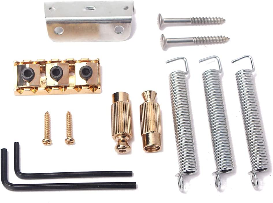 Gold Healifty Tremolo Bridge Saddle 6 String Tremolo Bar Arm Wrench with Screw Springs Left Handed for Electric Guitar Replacement