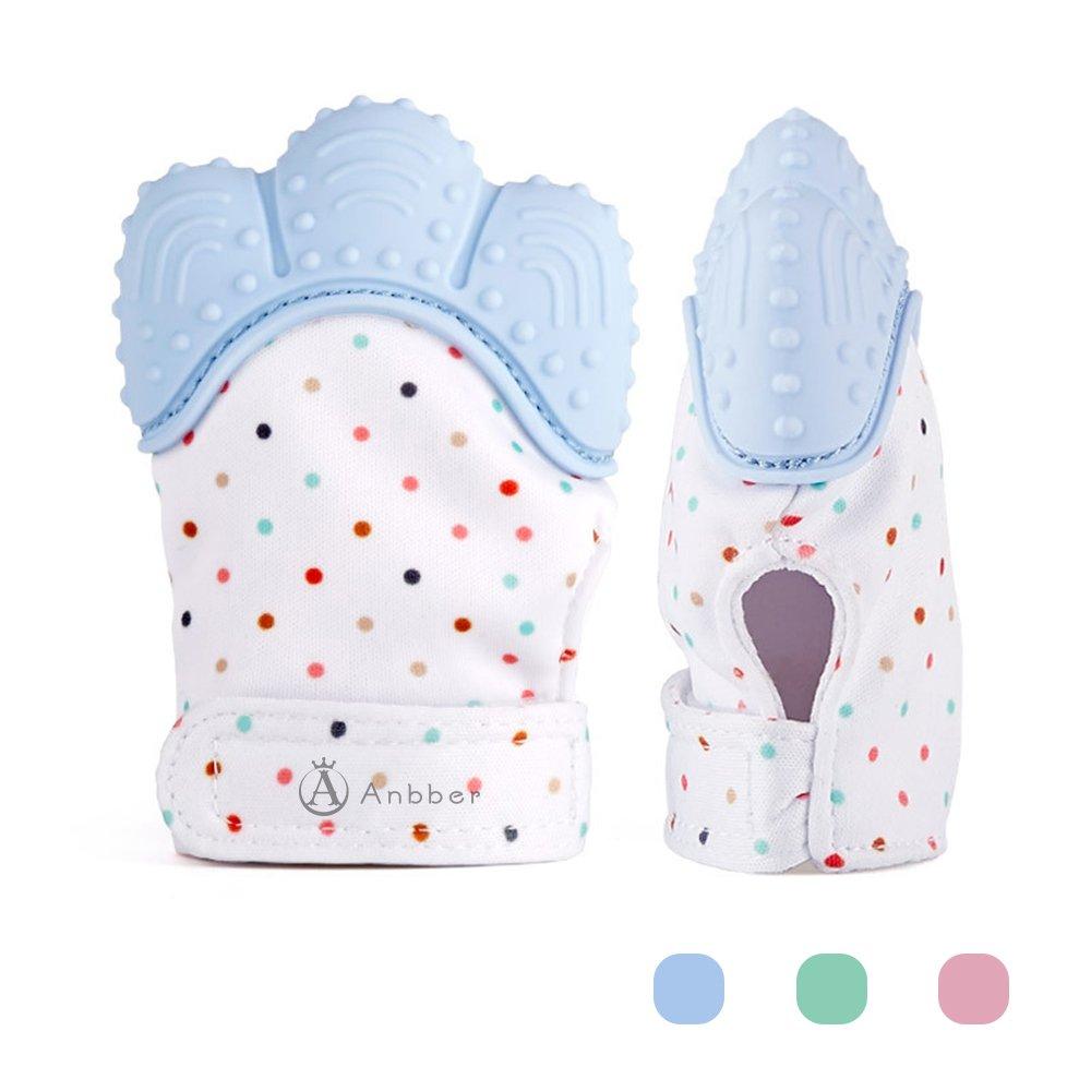 Jouet de dentition de bébé de gant de dentition de bébé - (3-12 mois) - NON BRILLANT - plus de baisse (maman inventée) - protège des mains de Babys et 100% de silicone de catégorie comestible (Rose) Anbber AB-BG