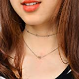 COLORFUL BLING DOUBLE HORN PENDANT HEART NECKLACE