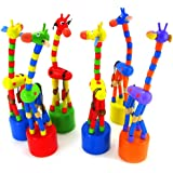 SMTSMT Kids Intelligence Toy Dancing Stand Colorful Rocking Giraffe Wooden Toy