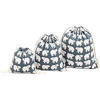 Cdet 3X Maleta para bolsa Gran impresión de oso blanco de algodón organizador Cordón del paquete