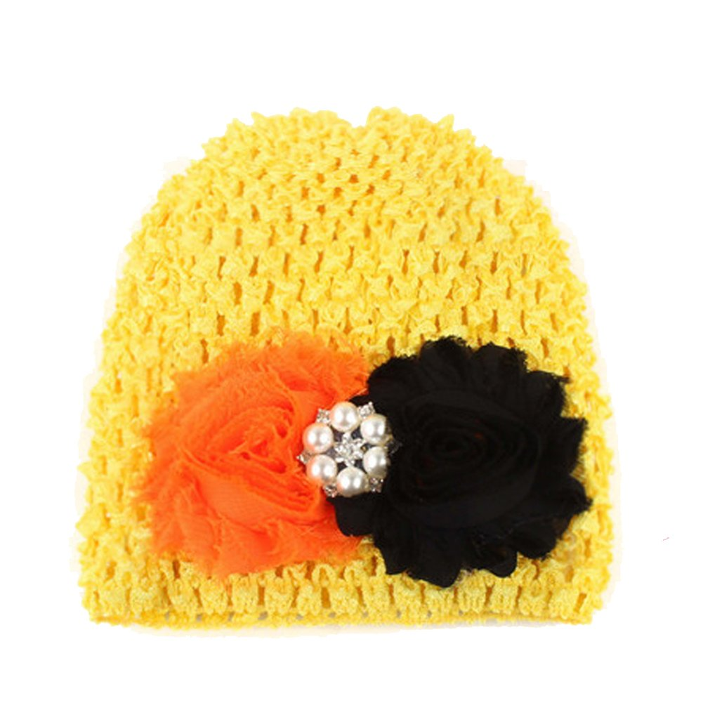 Tenchif Baby Girls Kids Soft Knitted Flower Hat Headband Cap