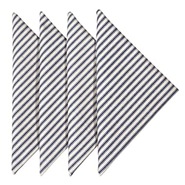 Cloth Napkins Table Linens Linen Napkins Dinner Napkins Set of 4 Striped Ticking Blue