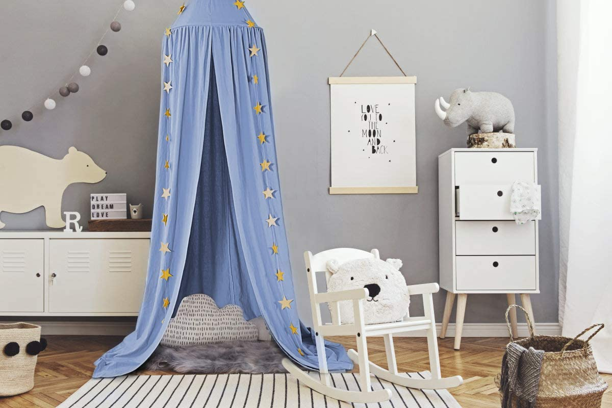 Blue Mosquito Net Bed Canopy Children Baby Bed Canopy Round Dome Cotton Mosquito Net Nursery Room Decoration