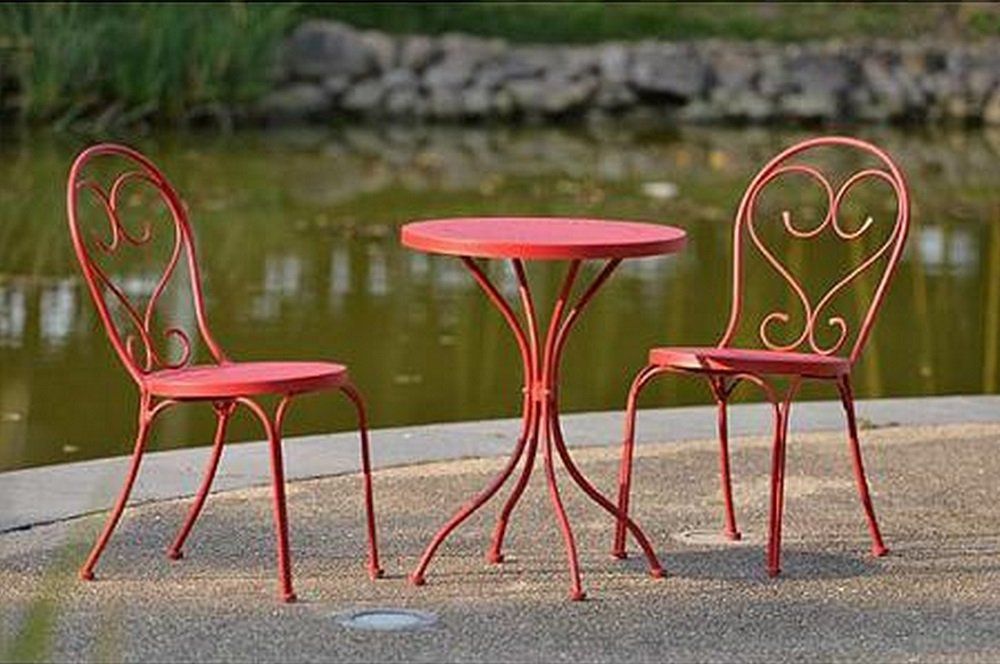 Small Space Scroll 3 Piece Chairs & Table Outdoor Furniture Bistro Set, Red, Seats 2 by Mainstay