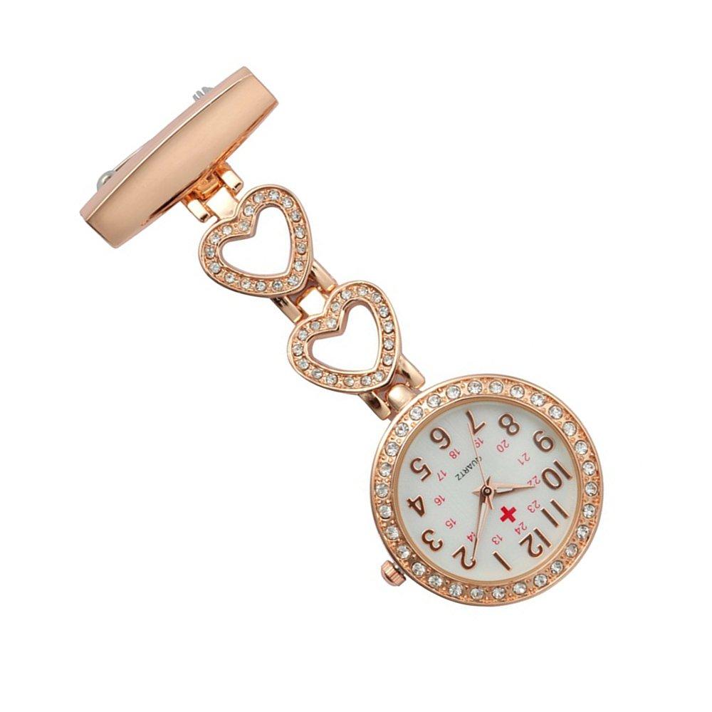 Creative Brooches Portable Medical Doctor Nurse Fob Watch Arabic Numerals Rhinestone Heart, Rose Gold by Guirui Watch (Image #3)