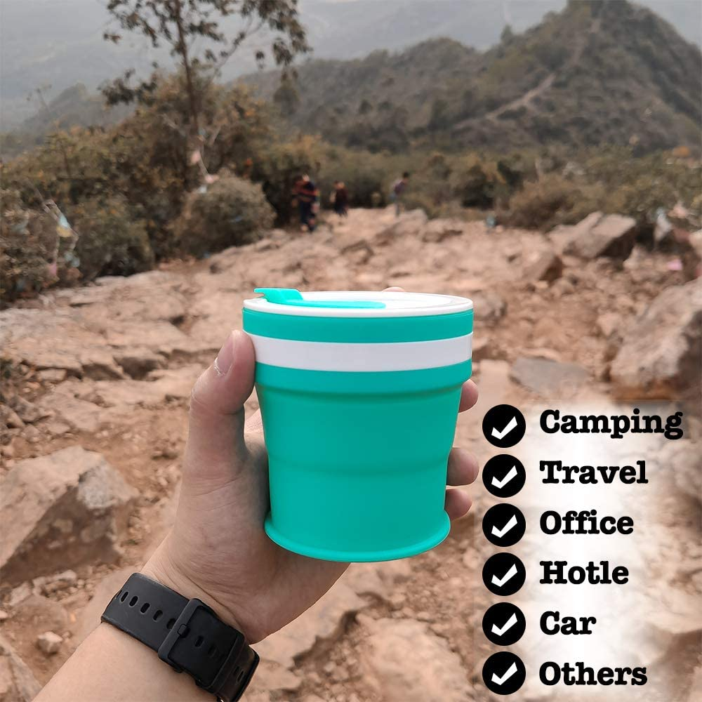 12 oz Foldable Camping Cup with Lid Silicone Collapsible Cup Travel Coffee Cups