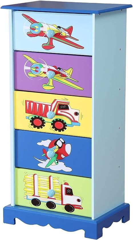 con Aerei Dipinti per Camera da Letto dei Bambini WODENY Blu Camion Verde Automobili Giallo Cassettiera per Bambini Viola