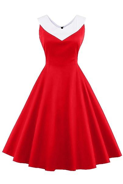 Babyonlinedress Vestido rojo de verano para mujer estilo vintage a 60 años vestido corto para fiesta