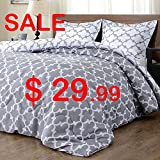 Millihome Back to school Lightweight Printed Luxurious Soft Brushed Microfiber Down Alternative Reversible Comforter Set with 1 Reversible Pillow Shams, Gray, Twin