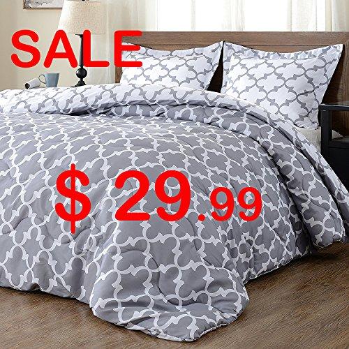 downluxe Back to School Lightweight Printed Comforter Set (Twin,Grey) with 1 Pillow Sham – 2-Piece Set – Hypoallergenic Down Alternative Reversible Comforter