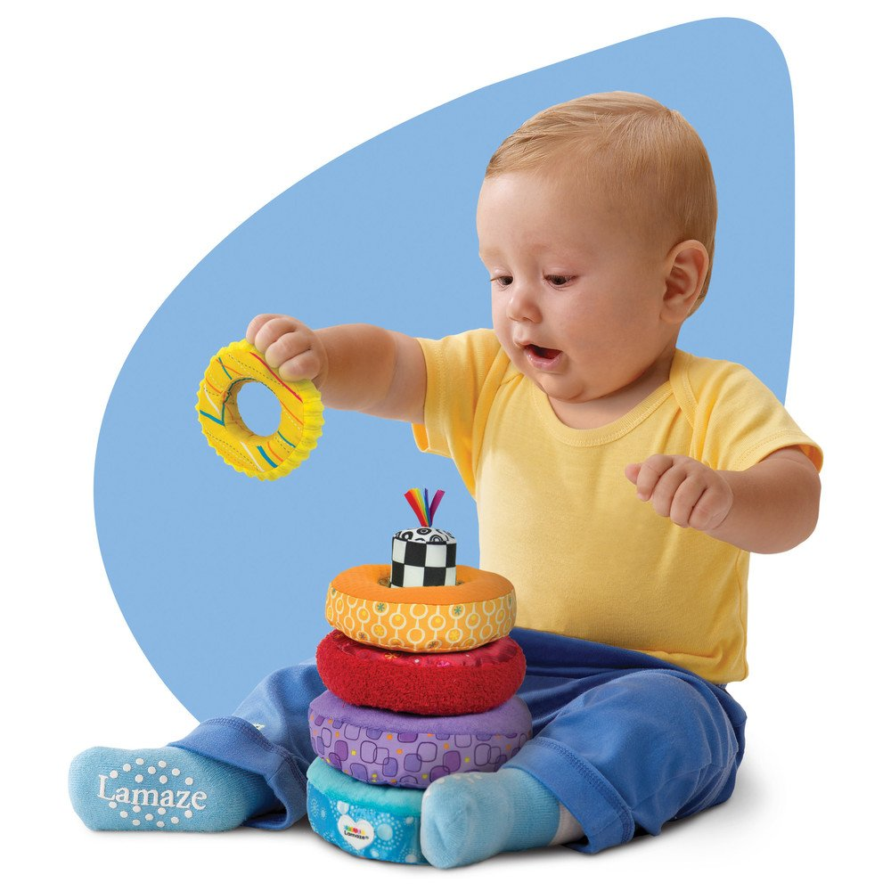 Lamaze rainbow stacking rings toy help baby develop for Toys to develop fine motor skills in babies