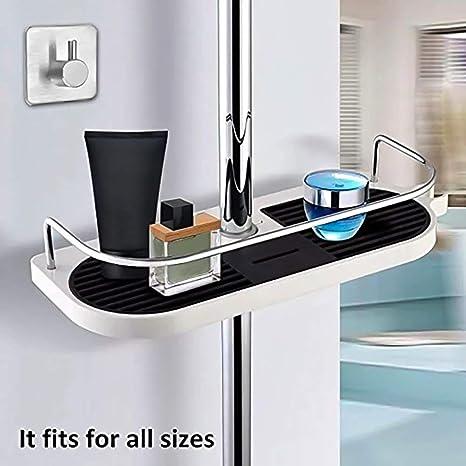 Duschablage Dusche Rack Regal zum Hängen aus Hochwertig ABS + Massives  Kupfer mit Duschehalter und Haken, ohne Bohren zu installieren, geeignet  für ...