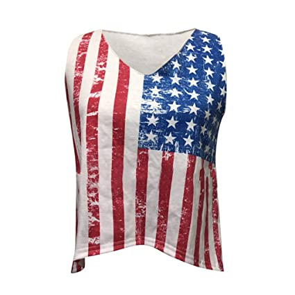 e73a51adca2ff0 Amazon.com: Fiaya 4th Of July Women Clothes Tank Tops Blouse American Flag  Loose Sleeveless Star T-Shirt (White, S): Home & Kitchen