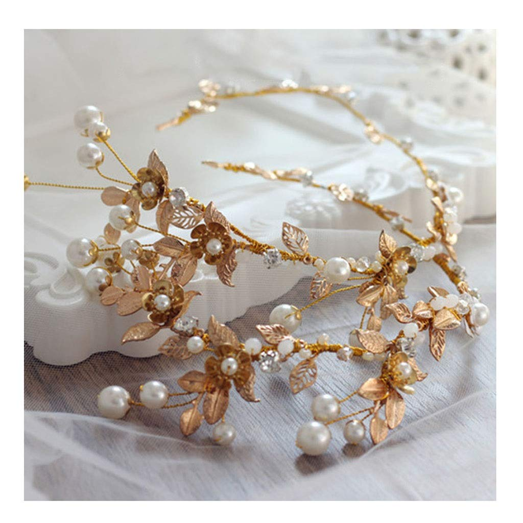Wreath Flower Bride Tiara Knot Wedding Hair Accessories Golden Leaves Retro Chinese Style Headband (Color : B)