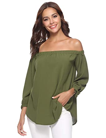 a28947187f962 Aibrou Off Shoulder Tops for Women 3 4 Sleeve Elegant Shirts Blouses Army  Green