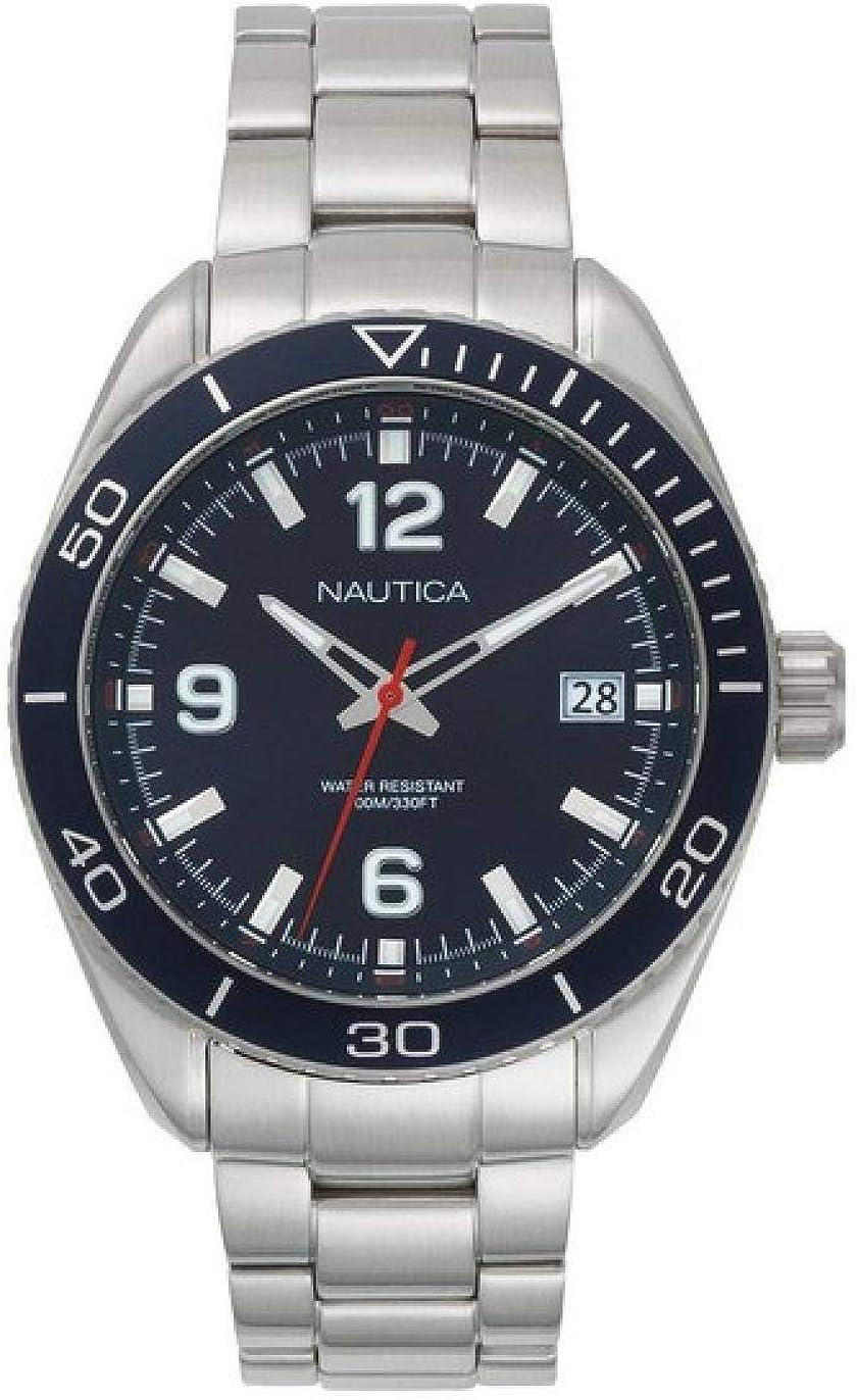 Nautica Reloj Analogico para Hombre de Cuarzo con Correa en Acero Inoxidable NAPKBN002
