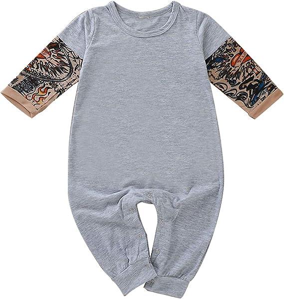 DaMohony Baby-Strampler f/ür Neugeborene mit Tattoo-/Ärmeln Unisex f/ür 0-24 Monate
