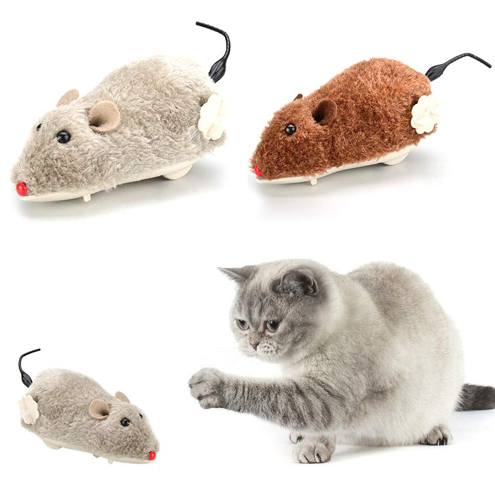 iodvfs Pet Dog Cat Playing Funny Toy Mouse Shape Clockwork Wind Up Running Play Gift Toy