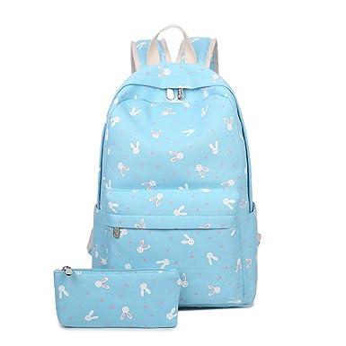 28c867146b3 Cartoon Rabbit Print Canvas School Bag Back to School Backpack Shoulder Bag  (2 piece set