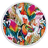 HiFunSky Round Tapestry,Round Roundies Beach Throw,Scarf Cloak Beach Towel,Large Round Beach Blanket,Picnic Table Cover,Tablecloth Meditation Yoga Mat Multi-Purpose Towel with Tassels Ultra 60 inch