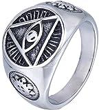 Trendsmax Uomini Illuminati The All-vedenti illuminati piramide / simbolo dell'occhio di tono d'argento inossidabile 316L Anello con sigillo