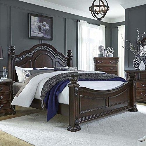 Liberty Furniture INDUSTRIES 737-BR-QPS Messina Estates Poster Bed, Queen, Cognac