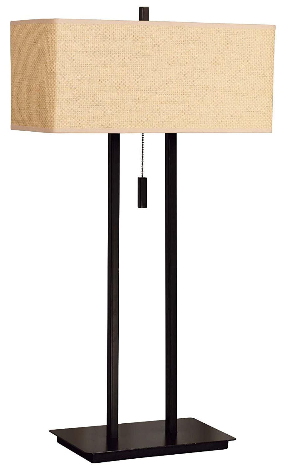 Kenroy Home 30816BRZ Emilo Table Lamp with 16 inch Tan Textured Woven shade, Bronze