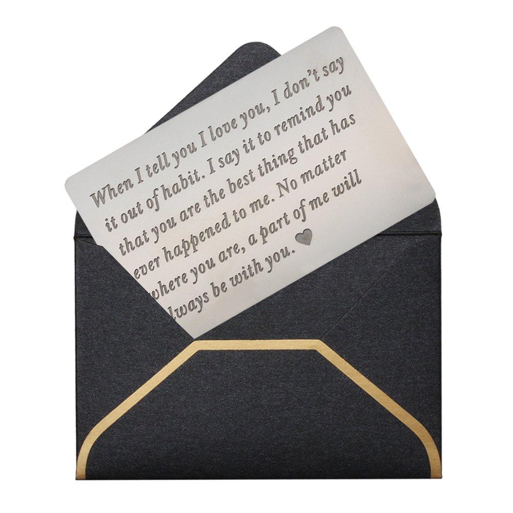 Engraved Wallet Cards for Men Wallet Inserts Unique Birthday Gifts for Men Gifts for Men Anniversary Gifts for MenGifts Ideas for Husband GiftsfromWife 20th Anniversary Gifts for Husband Gift