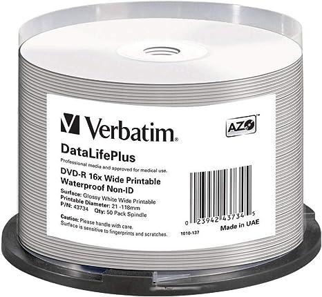Verbatim Dvd R 16 X Wide Printable Wasserdicht No Id Computer Zubehör