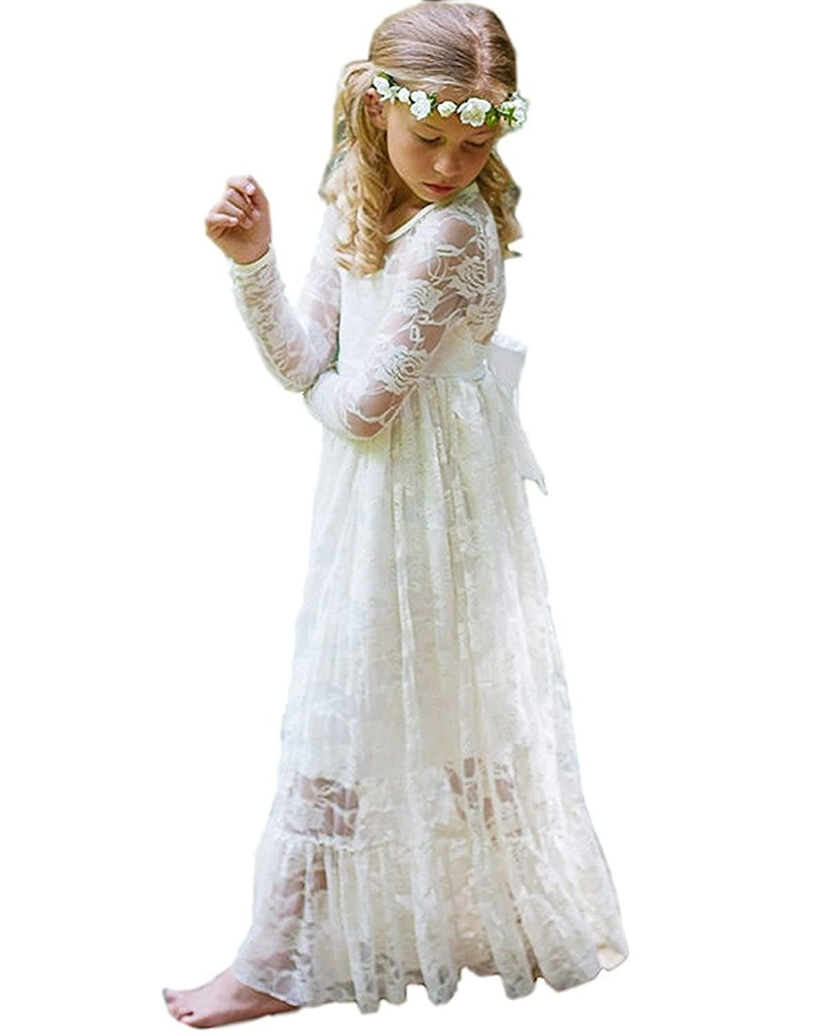 a2d89f24213 Amazon.com  yuanzhuoshangp Holy White Ivory Lace Boho Rustic Flower Girl  Dress For Pageant Age 2-14  Clothing